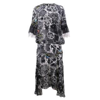 Preen by Thornton Bregazzi Black Pattern Long Dress