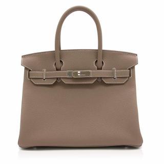 Hermes Birkin Etoupe Togo Leather 30 Bag