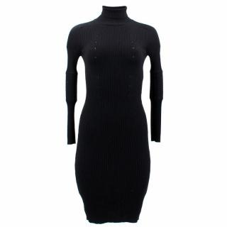 Gucci Black Wool Turtleneck Dress