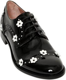 RED Valentino  black/white Flowers Oxford lace up Shoes