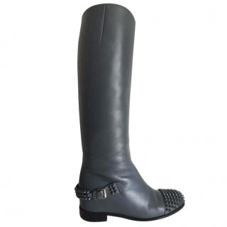 Christian Louboutin Egoutina Spike Calf Leather riding knee boots.