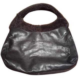 Maison Martin Margiela Grey Leather Fleece bag