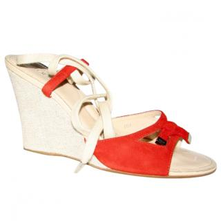 Tods red and beige wedges with ankle ties
