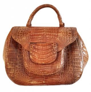 Nancy Gonzales large tan crocodile bag