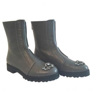 Jimmy Choo embellished grey biker boots
