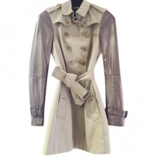 Burberry London Leather Sleeved Trench Coat