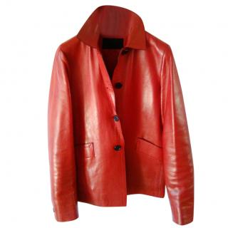 PRADA Red Soft Leather Jacket