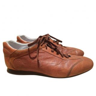 Santoni men's brown leather trainers