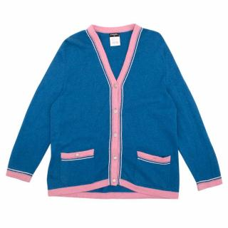 Chanel Blue and Pink Cashmere Cardigan