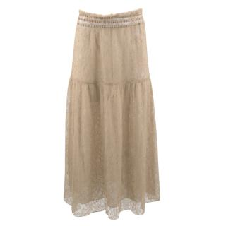 Prada Nude Lace Soft Skirt