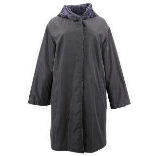 Yves Salomon Grey Reversible Fur Coat