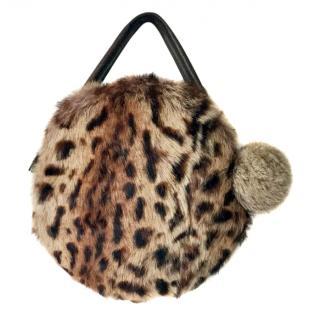 Chandler Warren Hilary Limited Edition Leopard Print Rabbit Fur and Leather Bag