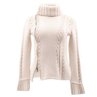 Ermanno Scervino Zip Up Cream Turtle Neck Jumper