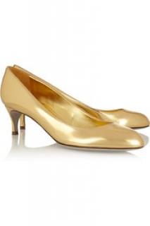 NEW Sergio Rossi Asha gold leather kitten heels pumps shoes