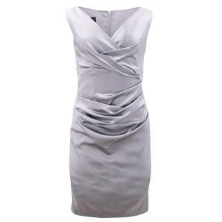 Talbot Runhof Grey Ruched Satin Dress
