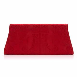 Shanghai Tang Red Embroidery Silk Clutch