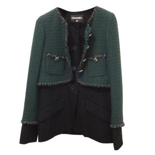 Chanel Green Double Effect Wool Jacket