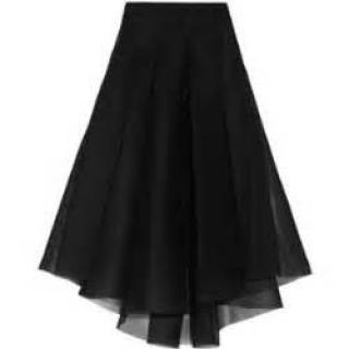NEW Milly Black pleated knee length mesh tulle midi skirt