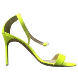 Manolo Blahnik neon yellow ankle strap sandals