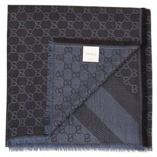 GUCCI Blue Wool/Silk Scarf/Shawl