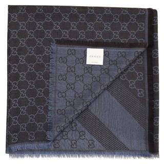 GUCCI Blue Wool/Silk Scarf/Shawl
