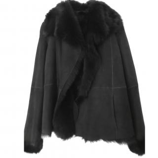 Joseph Anais Short Black Other Shearling Coat Sz12 Brand New with Tags