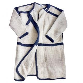Bimba y Lola brown wool mix blanket coat