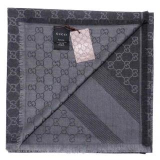 Gucci Wool/Silk Grey Scarf