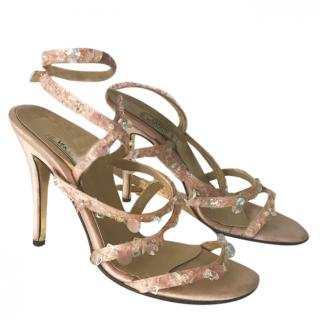 Gianna Versace vintage  silk sandals with decorative beads
