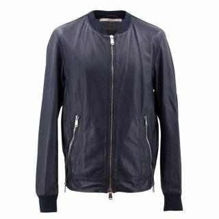 YSL Navy Leather Jacket