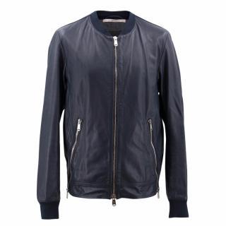 YSL Navy Leather Jacket