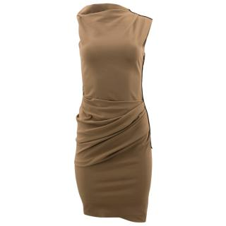 Lanvin Brown Bodycon Ruched Dress