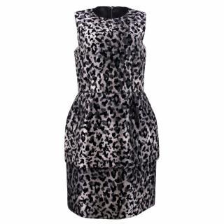 Dolce & Gabbana Black Leopard Print Pouf Dress