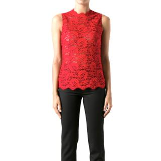 Dolce & gabbana red lace top