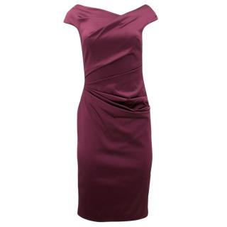 Talbot Runhof Purple Ruched Midi Dress