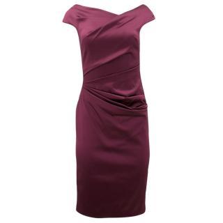 Talbot Runhof Purple Ruched Midi Dress