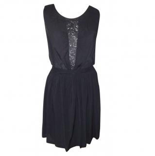 Sandro black lace detail dress