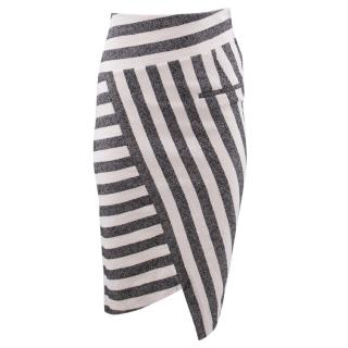 Altuzarra Black and White Striped Asymmetric Skirt
