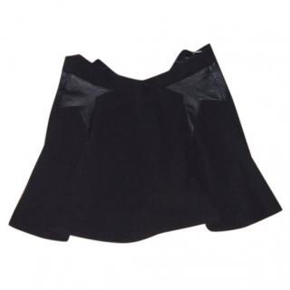 The Kooples black mini skirt with lambs.skin detail