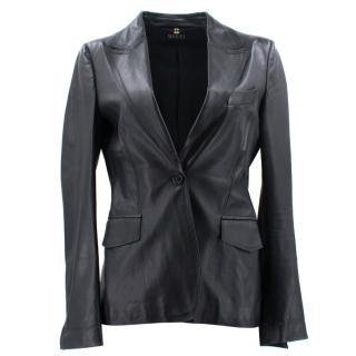 Gucci Black Leather Blazer Jacket