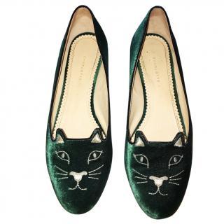 Charlotte Olympia Green Velvet Kitty Flats