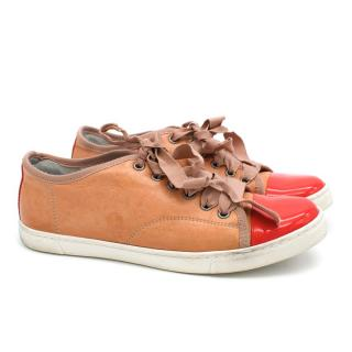 Lanvin Nude and Red Patent Low Top Sneakers