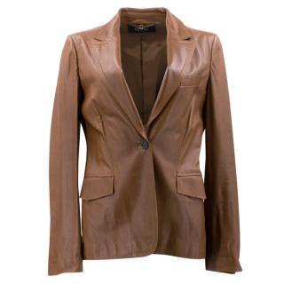 Gucci Brown Leather Blazer Jacket