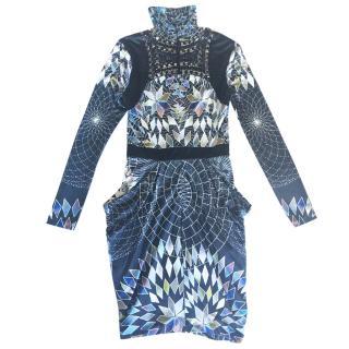 Matthew Williamson beads-embellished printed jersey dress