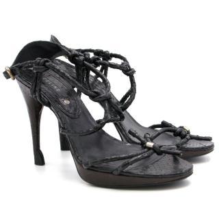 Celine Black Snake Skin Sandals