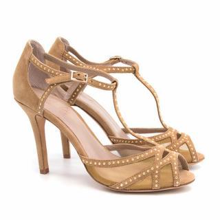 Lola Cruz Tan Suede Stud Sandals