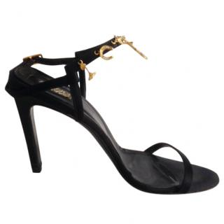 Versace black leather open heels with charms