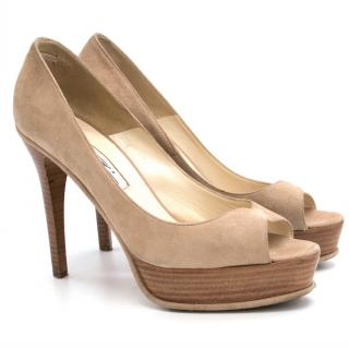 Brian Atwood Suede and Wood Platform Heels