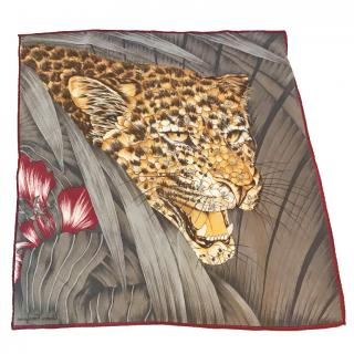 Salvatore Ferragamo vintage leopard  head silk scarf small