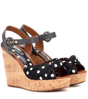 DOLCE & GABBANA Polka-dot wedge sandals